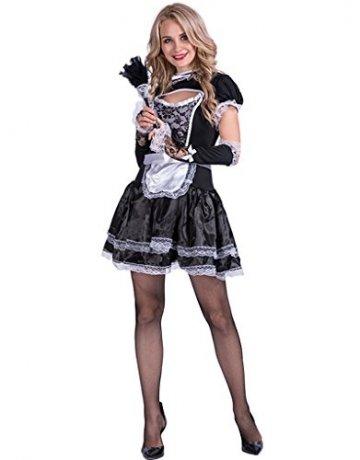 EraSpooky Damen Sexy Zimmermädchen Kostüm Zofe French Maid Dienstmädchen Karneval Kleid - 4