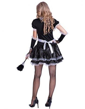 EraSpooky Damen Sexy Zimmermädchen Kostüm Zofe French Maid Dienstmädchen Karneval Kleid - 6