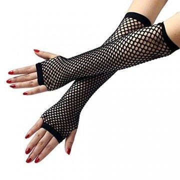 EROSPA® Netz-Handstulpen lang fingerlos Damen Handschuhe schwarz - Einheitsgröße - 2