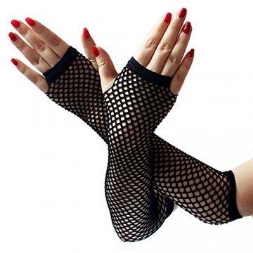 EROSPA® Netz-Handstulpen lang fingerlos Damen Handschuhe schwarz - Einheitsgröße - 1