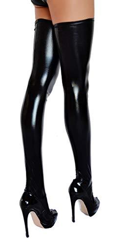 etrado fashion Halterlose Overknee Strümpfe in Wetlook Optik - Größe XL - 1