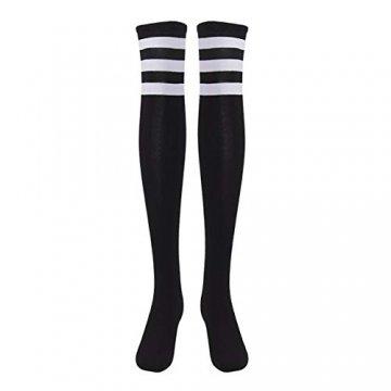 EZSTAX Damen Winter Warme Überknie Strümpfe Baumwollstrümpfe Retro Lange Socken Overknee Sportsocken mit drei Streifen - 2