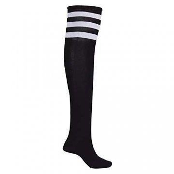 EZSTAX Damen Winter Warme Überknie Strümpfe Baumwollstrümpfe Retro Lange Socken Overknee Sportsocken mit drei Streifen - 3