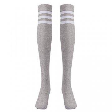 EZSTAX Damen Winter Warme Überknie Strümpfe Baumwollstrümpfe Retro Lange Socken Overknee Sportsocken mit drei Streifen - 4