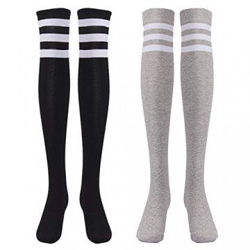 EZSTAX Damen Winter Warme Überknie Strümpfe Baumwollstrümpfe Retro Lange Socken Overknee Sportsocken mit drei Streifen - 1