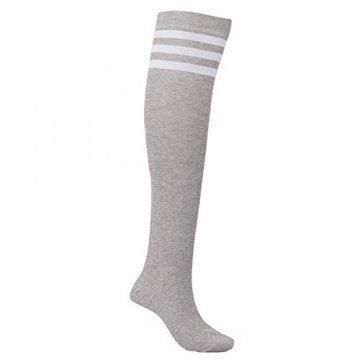 EZSTAX Damen Winter Warme Überknie Strümpfe Baumwollstrümpfe Retro Lange Socken Overknee Sportsocken mit drei Streifen - 5