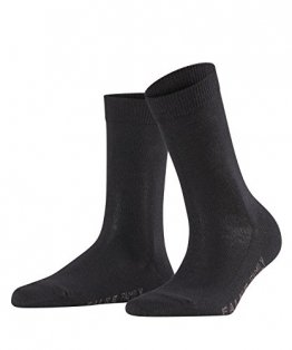 FALKE Damen SockenFamily - 94% Baumwolle - 1 Paar - Größe 35-38, Schwarz - Baumwollsocken Frauensocken lang Waden hoch - 1