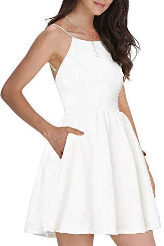 FANCYINN Kleider Damen Ärmelloses Spaghetti-Armband A-Linien Kurze Kleider Damen Casual Strandkleider Weiß L(42-44) - 1
