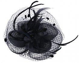 Fascigirl Hochzeit Haar Clip Hut haarschmuck blumen Fascinator mit Schleier Perlen Feder - 1