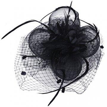 Fascigirl Hochzeit Haar Clip Hut haarschmuck blumen Fascinator mit Schleier Perlen Feder - 4