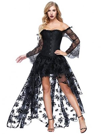 FeelinGirl Damen Korsagekleid Steampunk Gothic Kostüm Magic Mistress Hexenkostüm Teufelchen Halloween Cosplay Priatbraut, L(EU 38-40), Schwarz - 1