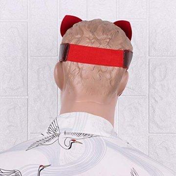 FEESHOW Unisex PU Leder Maske Fuchs Bär Gesichtsmasken mit Ohren Augenbinde Augenschutz Flirten Cosplay Kostüm Zubehör Braun One Size - 3