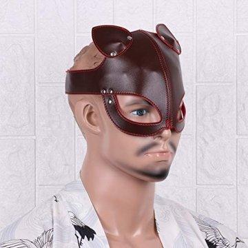 FEESHOW Unisex PU Leder Maske Fuchs Bär Gesichtsmasken mit Ohren Augenbinde Augenschutz Flirten Cosplay Kostüm Zubehör Braun One Size - 4