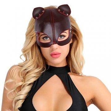 FEESHOW Unisex PU Leder Maske Fuchs Bär Gesichtsmasken mit Ohren Augenbinde Augenschutz Flirten Cosplay Kostüm Zubehör Braun One Size - 5