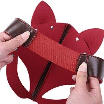 FEESHOW Unisex PU Leder Maske Fuchs Bär Gesichtsmasken mit Ohren Augenbinde Augenschutz Flirten Cosplay Kostüm Zubehör Braun One Size - 6