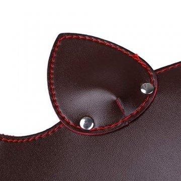 FEESHOW Unisex PU Leder Maske Fuchs Bär Gesichtsmasken mit Ohren Augenbinde Augenschutz Flirten Cosplay Kostüm Zubehör Braun One Size - 7