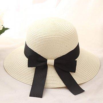 Flying Rabbit Damen Sonnenhüte Faltbarer Strohhut mit Sonnenschutz Breite Krempe (Style-1-Milk white) - 2