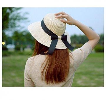 Flying Rabbit Damen Sonnenhüte Faltbarer Strohhut mit Sonnenschutz Breite Krempe (Style-1-Milk white) - 3
