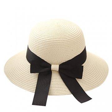 Flying Rabbit Damen Sonnenhüte Faltbarer Strohhut mit Sonnenschutz Breite Krempe (Style-1-Milk white) - 1