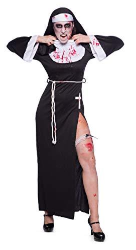 Folat 21945 Sexy Nonne Kostüm, S-M, Schwarz - 2