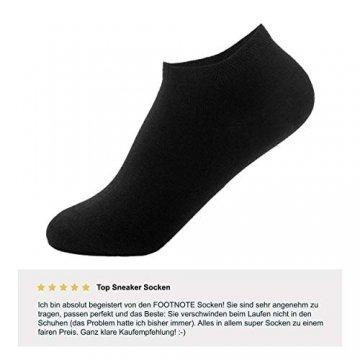 FOOTNOTE I 10 Paar I Sneaker Socken Ohne Gummi Ohne Naht Damen Herren Schwarz in 39 40 41 42 - 3