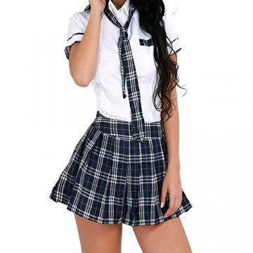 Freebily Damen Reizwäsche Schulmädchen Kostüm Plaid Uniform Mit Krawatte Dessous Set Karneval Fasching Cosplay Kostüm Weiß & Marineblau M - 1