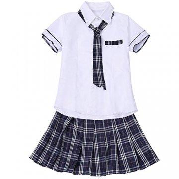 Freebily Damen Reizwäsche Schulmädchen Kostüm Plaid Uniform Mit Krawatte Dessous Set Karneval Fasching Cosplay Kostüm Weiß & Marineblau M - 5