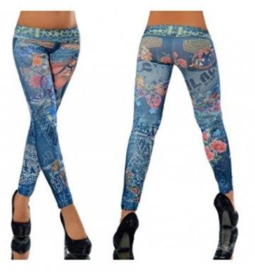 G209 Damen Hose Leggings Röhre Jeggings Treggings Strech Jeans Look, Farben:DM94087 blau;Größen:Einheitsgröße - 2