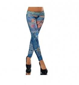 G209 Damen Hose Leggings Röhre Jeggings Treggings Strech Jeans Look, Farben:DM94087 blau;Größen:Einheitsgröße - 1