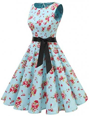 Gardenwed Damen 1950er Vintage Cocktailkleid Rockabilly Retro Schwingen Kleid Faltenrock Blue Little Flower XL - 2
