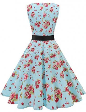 Gardenwed Damen 1950er Vintage Cocktailkleid Rockabilly Retro Schwingen Kleid Faltenrock Blue Little Flower XL - 3