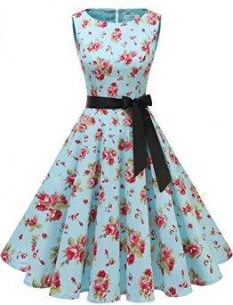 Gardenwed Damen 1950er Vintage Cocktailkleid Rockabilly Retro Schwingen Kleid Faltenrock Blue Little Flower XL - 1
