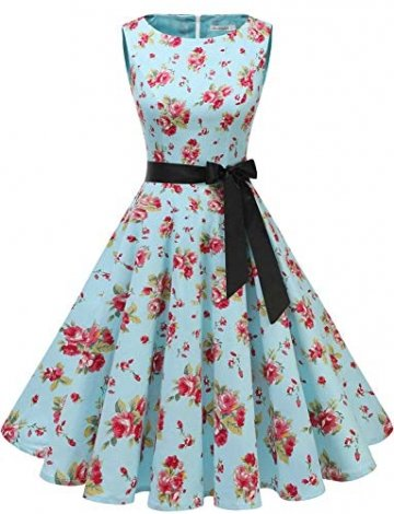 Gardenwed Damen 1950er Vintage Cocktailkleid Rockabilly Retro Schwingen Kleid Faltenrock Blue Little Flower XL - 1