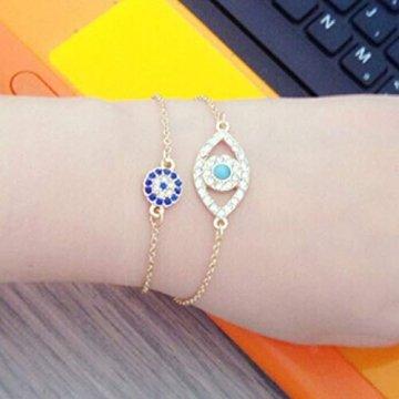 Gjyia 2Pcs Türkei Charm Blue Evil Eye Schützen Lucky Bracelets Set Voller Kristallschmuck - 3