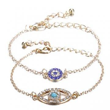 Gjyia 2Pcs Türkei Charm Blue Evil Eye Schützen Lucky Bracelets Set Voller Kristallschmuck - 1