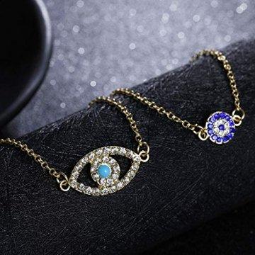 Gjyia 2Pcs Türkei Charm Blue Evil Eye Schützen Lucky Bracelets Set Voller Kristallschmuck - 6