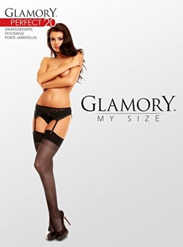 GLAMORY Damen Strapsstrümpfe Perfect 20 DEN, Schwarz (Schwarz), X-Large (Herstellergröße: XL-(48-50)) - 4
