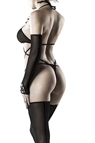Grey Velvet - heisses Neckholder Body-Set - schwarz Strasssteinen Schnüroptik Stockings mit Cutouts mit langen, fingerlosen Handschuhen XS-M - 2