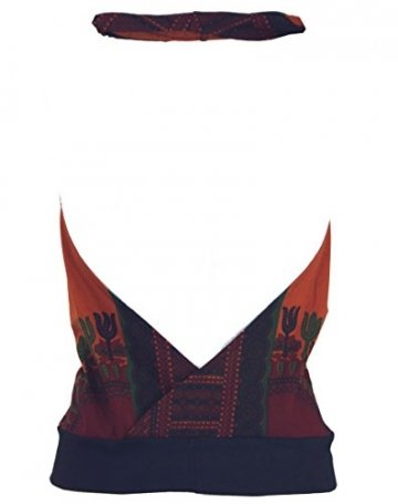 Guru-Shop Goa Top, Dashiki Psytrance Neckholder Top, Damen, Rostorange, Synthetisch, Size:S/M (34/36), Tops, T-Shirts, Shirts Alternative Bekleidung - 2