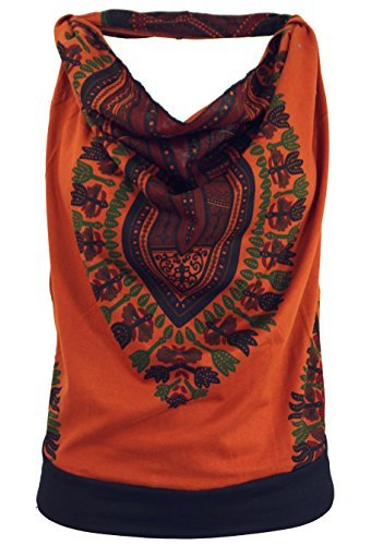 Guru-Shop Goa Top, Dashiki Psytrance Neckholder Top, Damen, Rostorange, Synthetisch, Size:S/M (34/36), Tops, T-Shirts, Shirts Alternative Bekleidung - 1