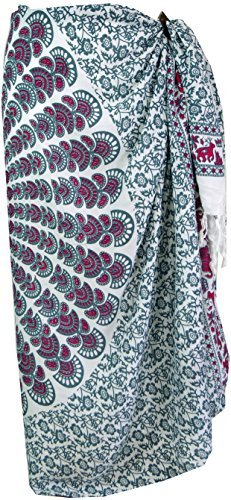 Guru-Shop Sarong, Wandbehang, Wickelrock, Sarongkleid, Herren/Damen, Weiß/grau, Synthetisch, Size:One Size, 160x115 cm, Sarongs, Strandtücher Alternative Bekleidung - 1