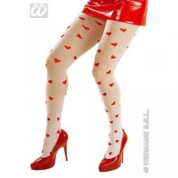 HAAC Strumpfhosen Nylonstrumpfhose Strumpfhose Herz Weiss mit roten Herzen für Fasching Karneval Weihnacht -
