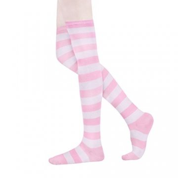 HABI 1 Paar Gestreifte blau rosa & weiß Kniestrümpfe Damen über Knie-Lange Overknee Überknie Strümpfe cosplay Kostüm (1) - 3