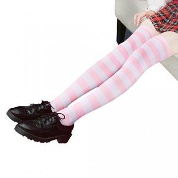 HABI 1 Paar Gestreifte blau rosa & weiß Kniestrümpfe Damen über Knie-Lange Overknee Überknie Strümpfe cosplay Kostüm (1) - 4