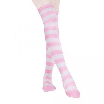 HABI 1 Paar Gestreifte blau rosa & weiß Kniestrümpfe Damen über Knie-Lange Overknee Überknie Strümpfe cosplay Kostüm (1) - 1