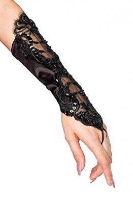 Handstulpen mit Stickerei und Perlen schwarz Hochzeit Braut Handschuhe Fingerlos - 1