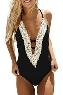 heekpek Damen Badeanzüge Einteiler Gepolsterte Tief-V Badebekleidung Bikini Set Halter Bademode Push Up Bikini Monokini - 1