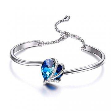 Herz Armband Sterling Silber Damen Einstellbar Armreif mit Blau Kristallen von Swarovski, Schmuck Geschenke für Mutter Frauen Freundin - 1