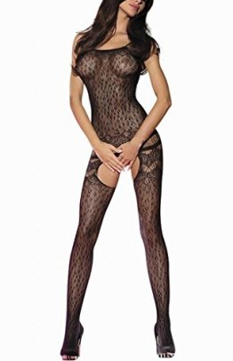 ILAVO® Traumhafter Bodystocking aus Netz im Leo-Look - Damen Dessous - Ouvert - S-L (S-L) - 1