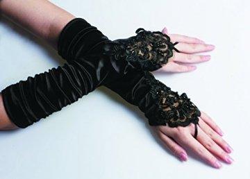 iLoveCos Lange Fingerlose Elastischer Spitze Braut Handschuhe 1920er Zubehör Flapper Kostüm für Frauen (Black) - 2